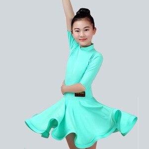 Image 3 - Năm 2020 cô gái Nhảy Latin Đầm 5 màu Đỏ/Xanh Lá/Xanh Dương Con/Kid Thể Dục Trẻ Em Samba Chacha Rumba cô gái Thể Hiện Nhảy Múa Váy 2034