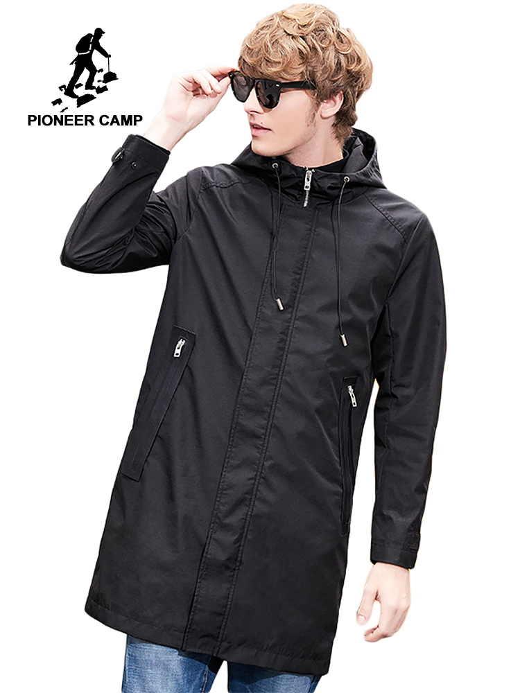 Pioneer camp hooded long   trench   men brand clothing casual solid zipper   trench   coat male quality windbreaker black coat AFY801379