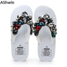 AShwin luxury diamond sandals slippers shiny rhinestones flip flops holidays beach shoes wedge platform sandal women mules