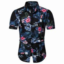 New model Shirts Mens Clothing Blouse Men Slim fit Hawaiian style Beach leisure Summer
