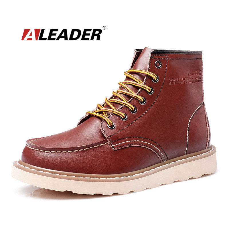 ALEADER Waterproof Men's Ankle Boots 2019 Fashion Warm Martin Boots Men Snow Fur Boots Men Casual Shoes Western Motorcycle Boots