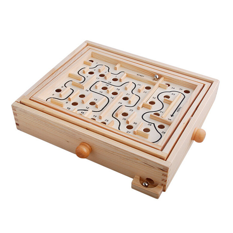 Rotating Wooden Maze Board Game Controller Ball In The Maze Puzzle Handmade Children's Toys Educational Beaded Toys For Children
