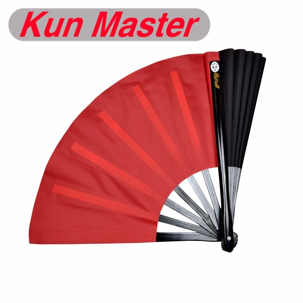 34cm Kun Master Bamboo Tai Chi Kung Fu Fan  Martial Arts Practice Performance Both Sides Covers Free Match