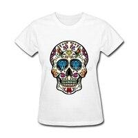مخصص تي الجدة المكسيكي الجمجمة التي شيرت ملابس الصيف السكر الجمجمة القمصان النساء