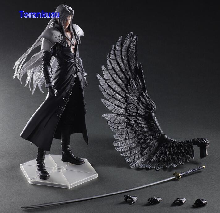 Final Fantasy Action Figure Paly Arts Kai Final Fantasy VII 7 Sephiroth PVC Figure 270MM Playarts Kai Collectible Model Toy PA01 anime folding wallet final fantasy vii cloud strife sephiroth high quality short pu purse free shipping