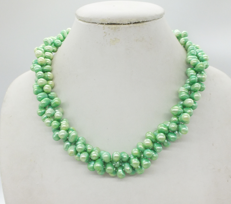 Bridesmaid necklace. Classic AAA 7-8MM 3 shares Baroque freshwater green pearl necklace. The best gift for mom 19