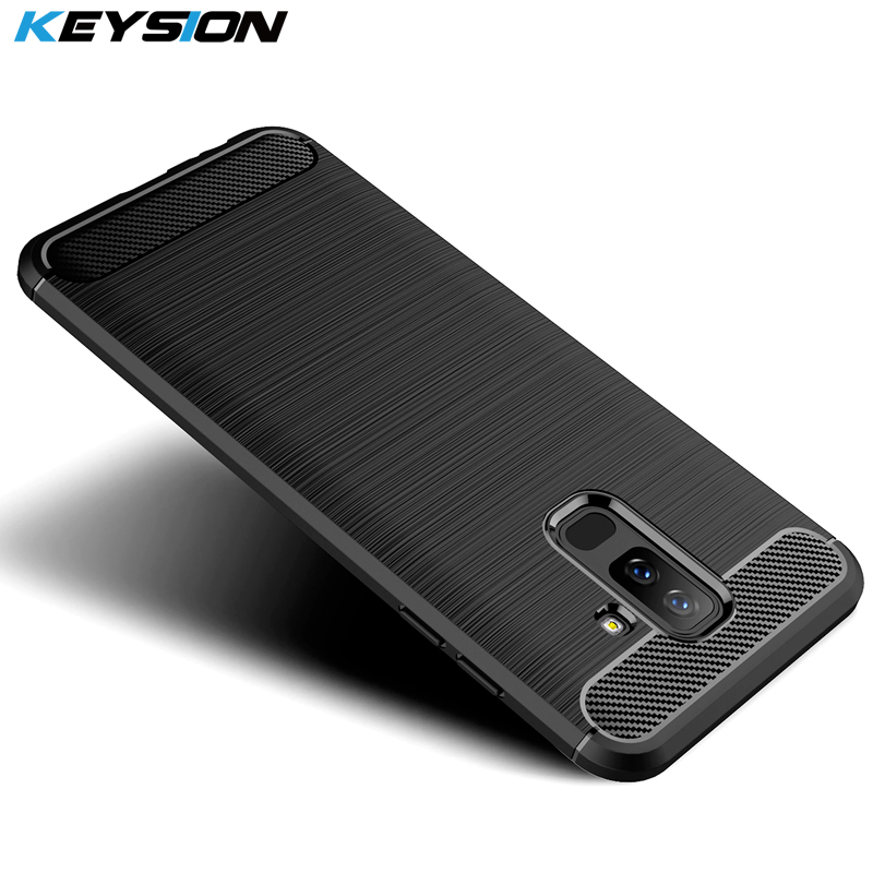 KEYSION Phone-Case Back-Cover Carbon-Fiber A6 Plus Samsung Galaxy Silicone For A7 A9