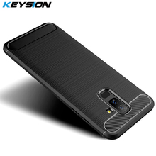 KEYSION Phone Case for Samsung Galaxy A6 A6 Plus A7 A9 J4 J6 J8 2018 Carbon Fiber Soft TPU Silicone Brushed Back Cover for S10
