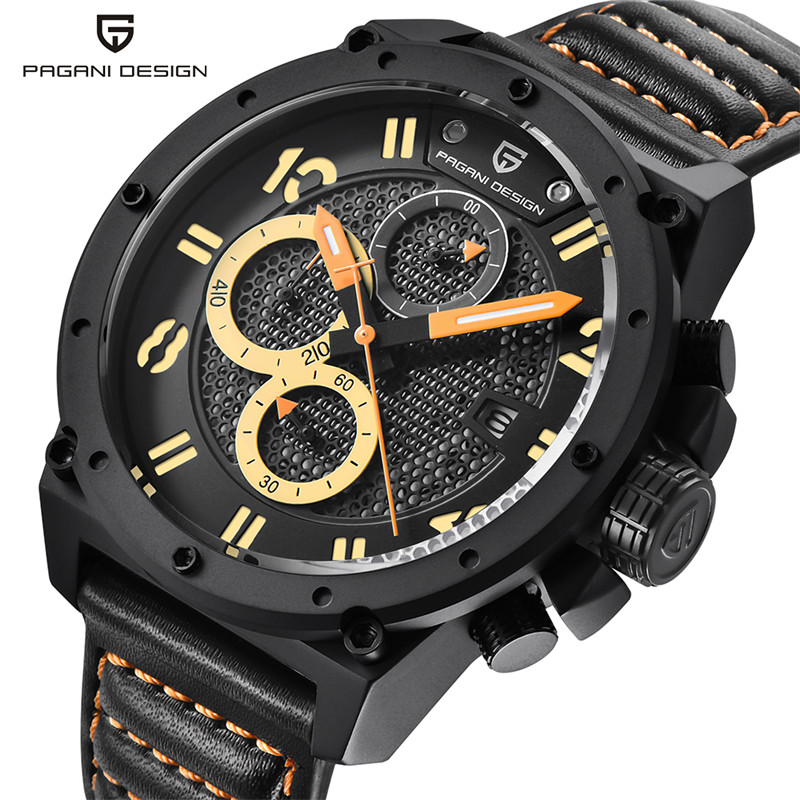 PAGANI DESIGN Cool Wrist Watch Date 10ATM Water Resistant Stops  Analog Quartz  Military Genuine Leather Band Men + Gift Box genuine curren brand design leather military men cool fashion clock sport male gift wrist quartz business water resistant watch