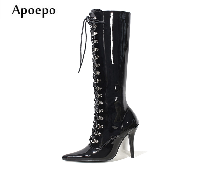 New Newest High Heel Boots for Woman 2018 Sexy Pointed Toe Rivets Studded Lace-up Knee High Boots Thin Heels PU Leather Boots cicime summer fashion solid rivets lace up knee high boot high heel women boots black casual woman boot high heel women boots