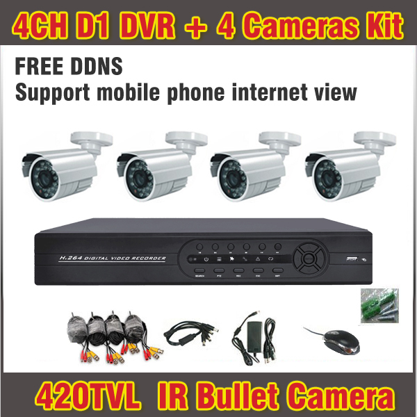 4 Channel 4PCS 420TVL CCTV Camera Outdoor with Recorder Cameras Security Surveillance Kit CCTV System 4ch Channel CCTV Kit Night