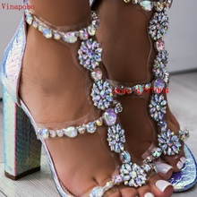 Vinapobo Luxury Rhinestone Snake Women chunky summer Sandals Sexy Bling block High Heel Elegant Party Shoes