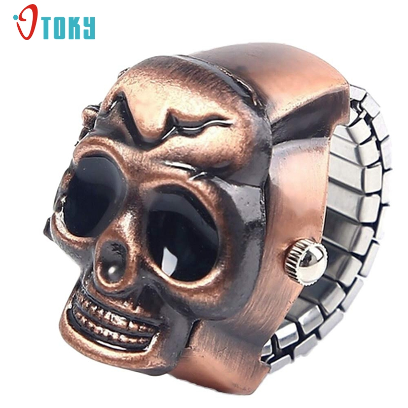 OTOKY Vintage Quartz Women Skull Ring Watch Stainless Steel Finger Watches Unisex Fashion Skull Jewelry Promotional Gifts