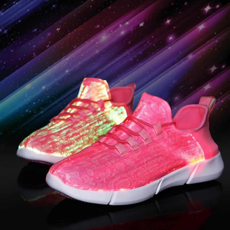 7 ipupas, nuevos zapatos LED para niños, niñas, mujeres y hombres con tela de fibra óptica y suela elástica, zapatillas ligeras recargables por USB