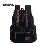 Temena Men Vintage Crazy Horse Leather Backpack Unisex Cow LeatherTravel Backpacks Big Casual School Shoulder BagsRucksackBBP364