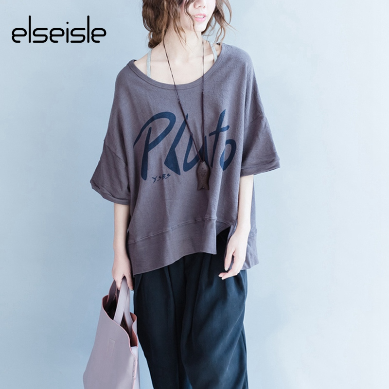 fc3ec3a7c elseisle 2017 New Letter Print Vintage Cotton T-shirt Korea Style Casual Women  Top Tees