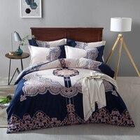 IvaRose 4 Pcs Azul Set Capa de Edredão Com Fronha de algodão areia Planta Tropical Flor Colcha Conjunto de Tampa Jogo de Cama Macia