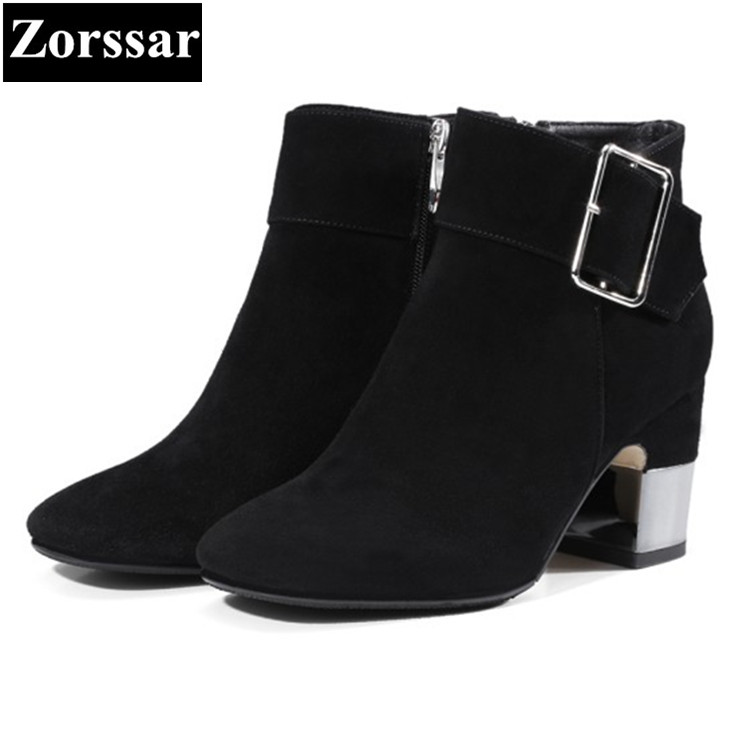 {Zorssar} 2017 NEW fashion buckle thick heel short Boots Cow leather High heels women ankle Martin boots Square Toe women shoes цены онлайн