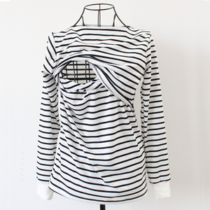 Image 4 - Maternity Clothing Spring Fashion Casual Striped O Neck Collar Long Sleeve Nursing Top Breastfeeding  For Pregnant Women