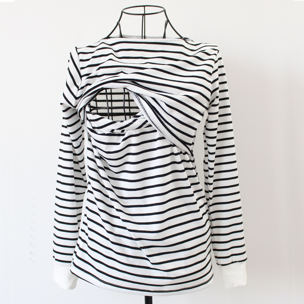 03e353a4fe954 Sunbaby 2018 Spring Fashion Casual Striped O neck Collar long sleeve  nursing top breastfeeding clothing for pregnant women-in Tees from Mother &  Kids on ...