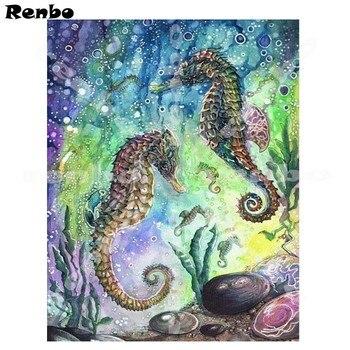 Tam Kare Elmas 5d Diy Elmas Boyama Hayvanlar Denizatı Mozaik