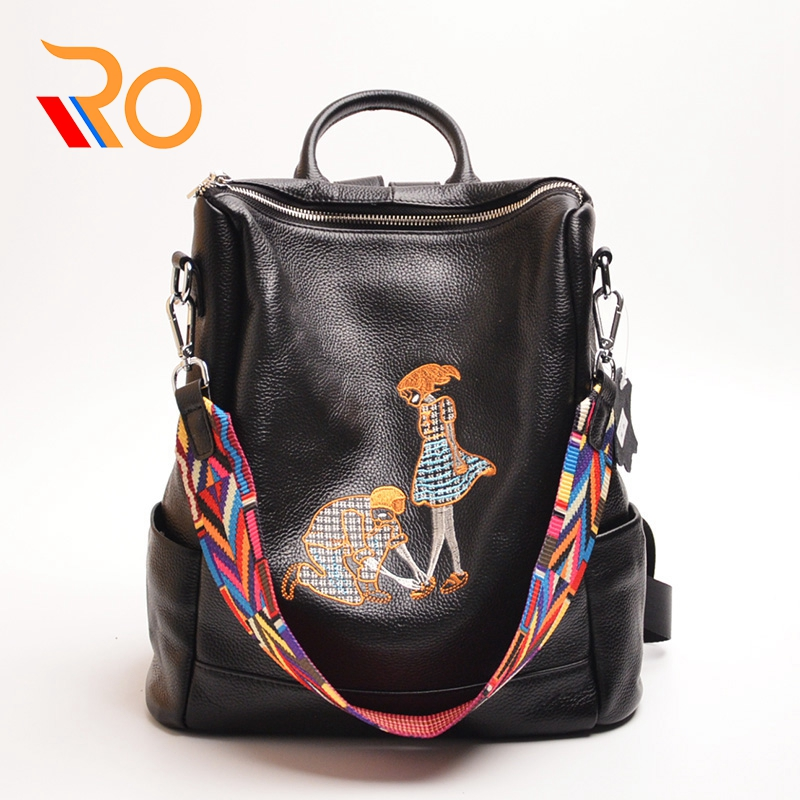 High Quality Women Character Backpack 100% Genuine Leather Teenager School Bag Vintage Natural National Travel School Bags
