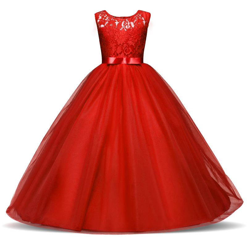 Flower Girls Dresses for Kids Princess Long Dress Children Lace Clothes Kids Prom Communion Gown Cute Girls Teenager Dresses chinese red flower lace cheongsam girls dresses fleece thick long sleeved princess dress girl cute children costume kids clothes