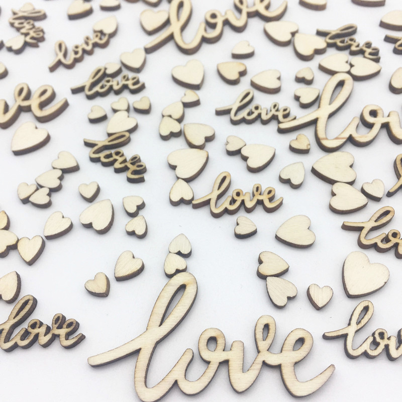 100pcs 6mm-55mm Love And Hearts Mix Wedding Table Decorations Wooden Table Confetti Embellishments Cardmaking Scrapbooking