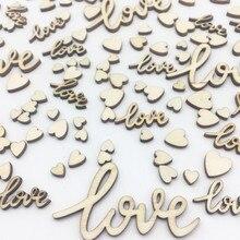 100 Uds 6mm-55mm amor y corazones de mezcla de mesa de boda decoración de la Mesa de madera adornos de confeti Cardmaking Scrapbooking