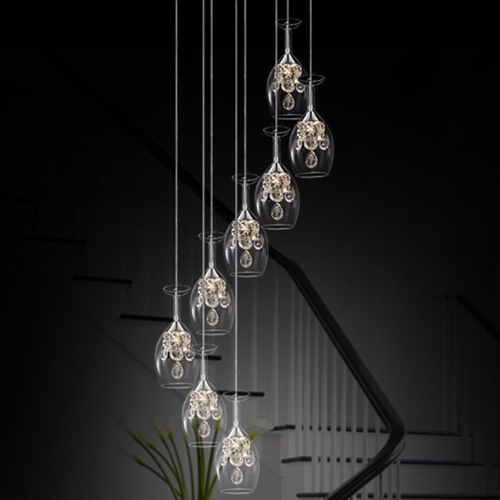 Stairs lights Transparent k9 clear pendant light Wine Glass restaurant LED crystal pendant lamp creative personality ZA SJ122 цена