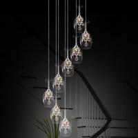 Stairs lights Transparent k9 clear pendant light Wine Glass restaurant LED crystal pendant lamp creative personality ZA SJ122