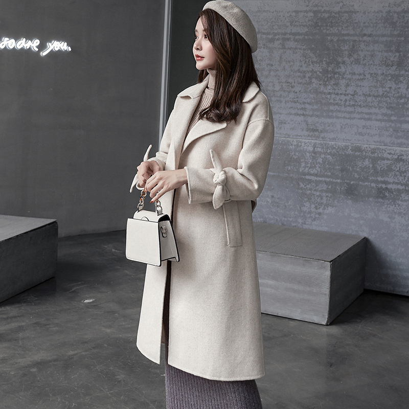 Nouveau 2019 Genou Femmes Manteau Sur face Le Creamy gris Section Laine Anti Des De Longue pink white Double Cachemire saison SprdSqw