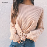 Freeshipping Europe And The United States Autumn And Winter Wild Banded Shoulder Long Sweater Shirt Shirt