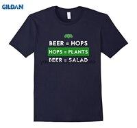 GILDAN algodão personalizado impresso O pescoço T-shirt Da Cerveja De Lúpulo Plantas Salada Beber Camisa Presente Para O Fã de Cerveja