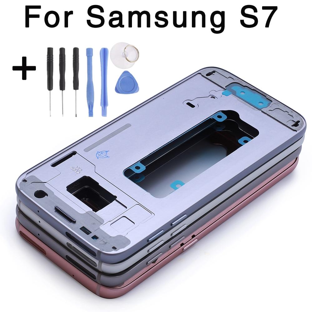 Pour Samsung Galaxy S7 G930F S7 bord G935F Moyen Cadre de Plaque de Logement Lunette Châssis avec toutes les petites pièces