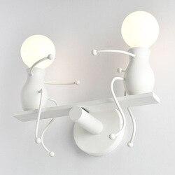 Nowoczesne żelaza ściana światło E27 uchwyt na kryty do montażu na ścianie oprawę oświetleniową Cute Cartoon ścienne lampa do sypialni salon Foyer