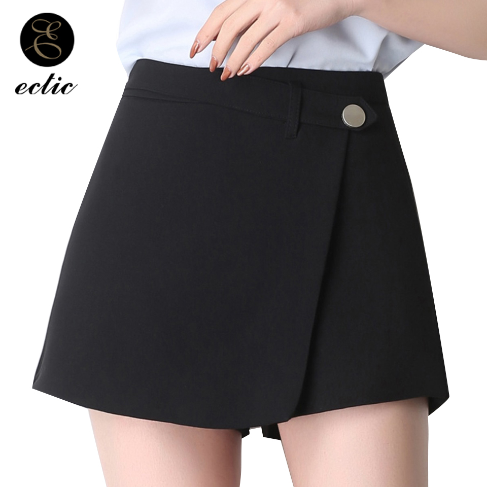 Korean Skort Wide Leg Shorts Fake Two Pieces Back Zipper Skirt With Shorts Women Culotte Cotton Active Wear Short Mujer Casual