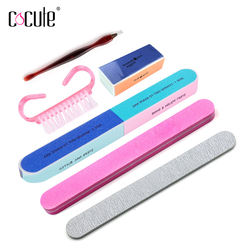 Cocute 6 PCS Nail Makeup Tool Set Fingernail Toenail Peeling Polishing Strip Brushes Professional Kit Gift