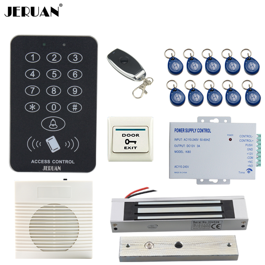 JERUAN Cool black RFID Password Access Controller system kit+White doorbell+Remote control+Exit Button+in stock Free shipping cluci free shipping get 40 pearls from 20pcs 6 7mm aaa blue round akoya oysters twins pearls in one oysters