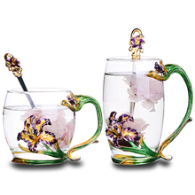High quality Creative Transparent Crystal Carve patterns Enamel Glass Cup For tea cup Home Drinking Ware wedding gift