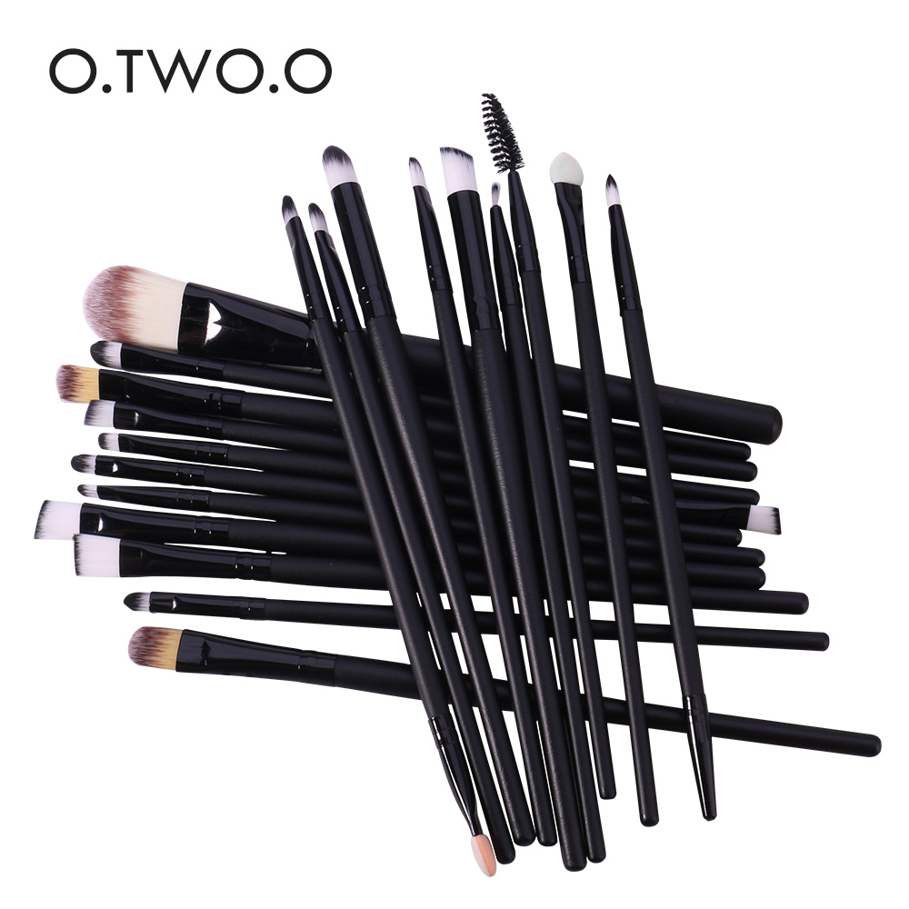 O.TWO.O 20pcs/lot Black Professional Makeup Brushes Set Make up Brush Tools Kit Foundation Powder Shader Liner 20pcs professional makeup brush set