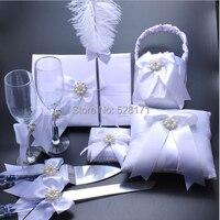 White Color Wedding Decoration Wedding Ring Pillow &Flower Basket &Champagne Glasses&Knife&Scoop& Pen Set& Guest Books Supplies