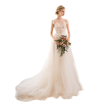 Wedding Dress Illusion O-neck Sleeveless a Line Bridal Dresses 2019 New Fashion Sweep Train Bride Gown Vestido De Noiva Wedding Dresses