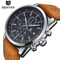 BENYAR Fashion Men Watch Sport Men Watches Top Brand Luxury Military Quartz Watch Chronograph Waterproof Clock Relogio Masculino