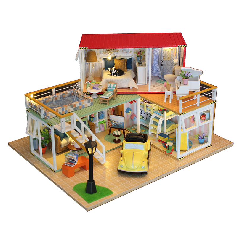 Hot Sale Diy Doll House Wooden Miniatura Doll Houses Miniature Dollhouse With Furniture Led