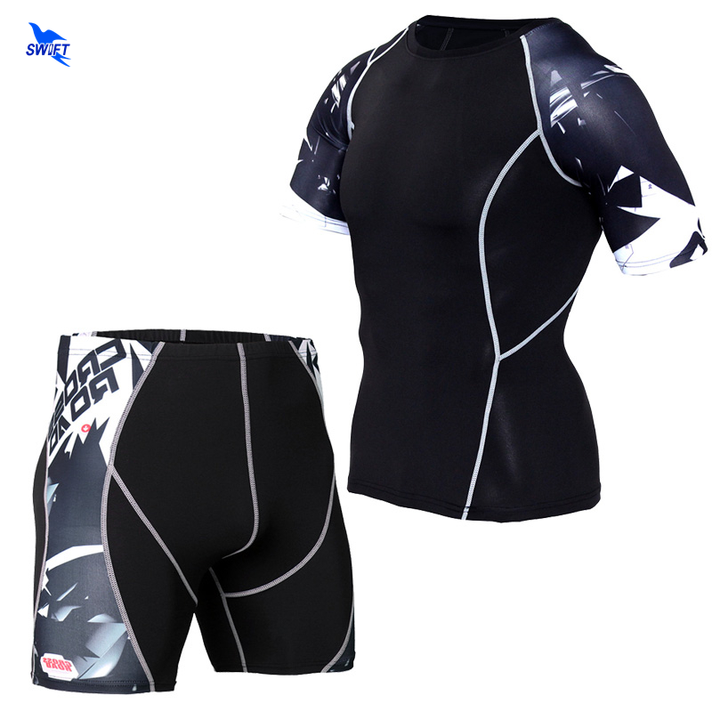 3D Printed Compression Muscle Men Tracksuit Running Set Fitness Tight T-shirt + Legging Shorts Mens Sportswear Gym Sports Suit
