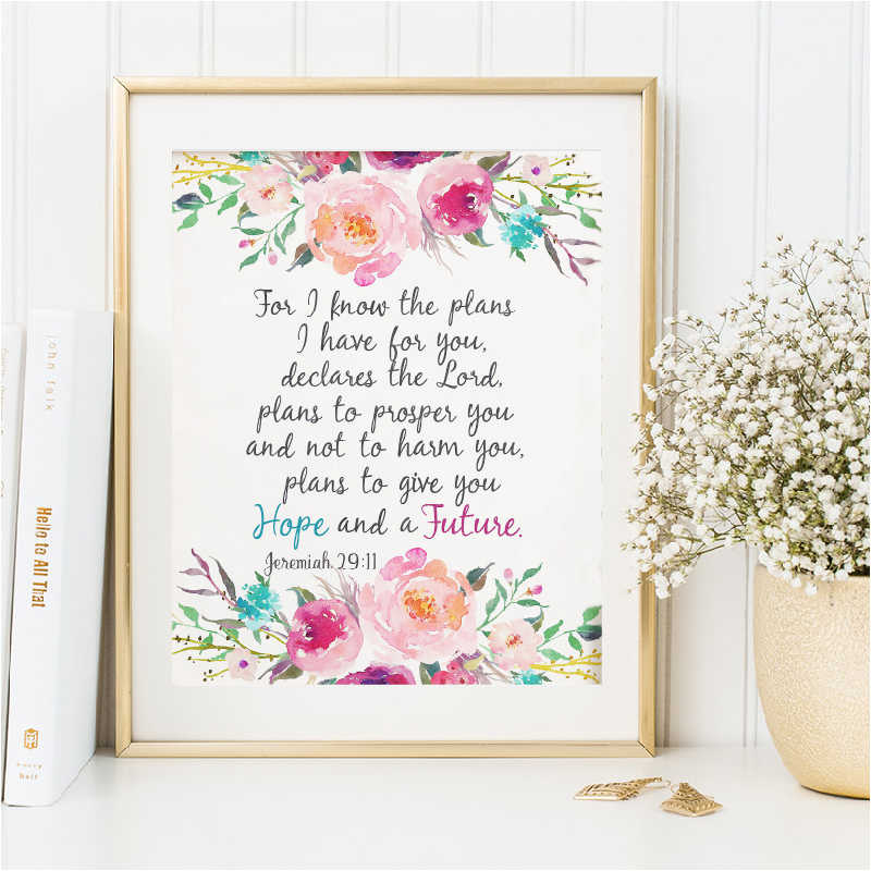 Original Watercolor Painting Floral Border Bible Verse