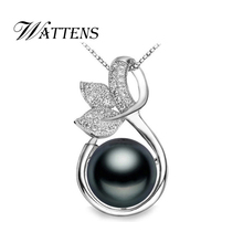 WATTENS Pearl Jewelry,party Leaf pendant,engagement necklaces pendants 925 sterling silver natural Pearl necklace for women love