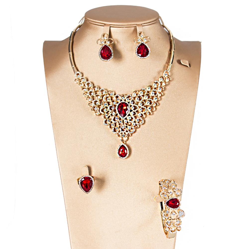LAN PALACE new arrivals cheap jewelry african necklace sets for women alloy earrings necklace ring bracelet free shipping