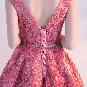 LAMYA Backless Appliques Short A Line Prom Dresses 2019 Knee Length Evening Party Dress Lace Up Formal Gown Robe De Soiree 6